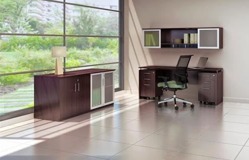 medina credenza desk with storage cabinets and pedestals in mocha