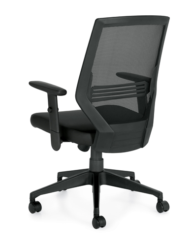Offices To Go Modern Mesh Back Chair with Luxhide Seat 12112B
