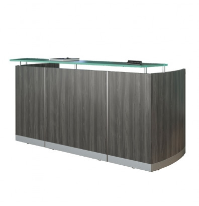 Mayline Medina Gray Steel Finished Reception Desk with Pedestals MNRSBF