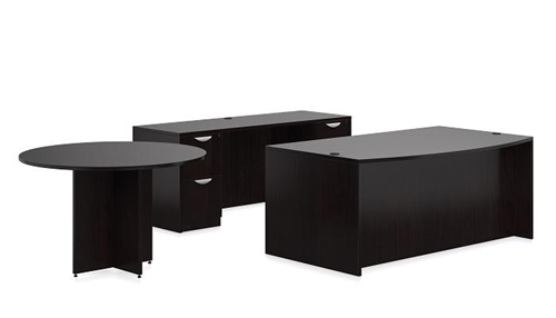 Offices To Go SL-G-AEL American Espresso Desk Layout with Round Table