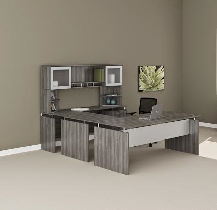medina gray steel u-desk