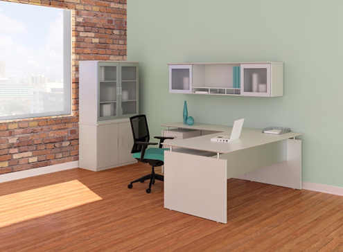 medina l-desk with cabinets in sea salt