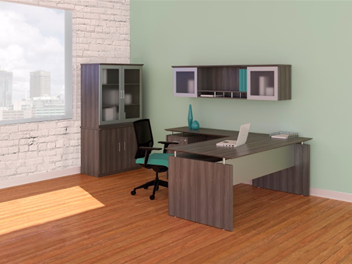 medina l-desk with cabinets in gray steel