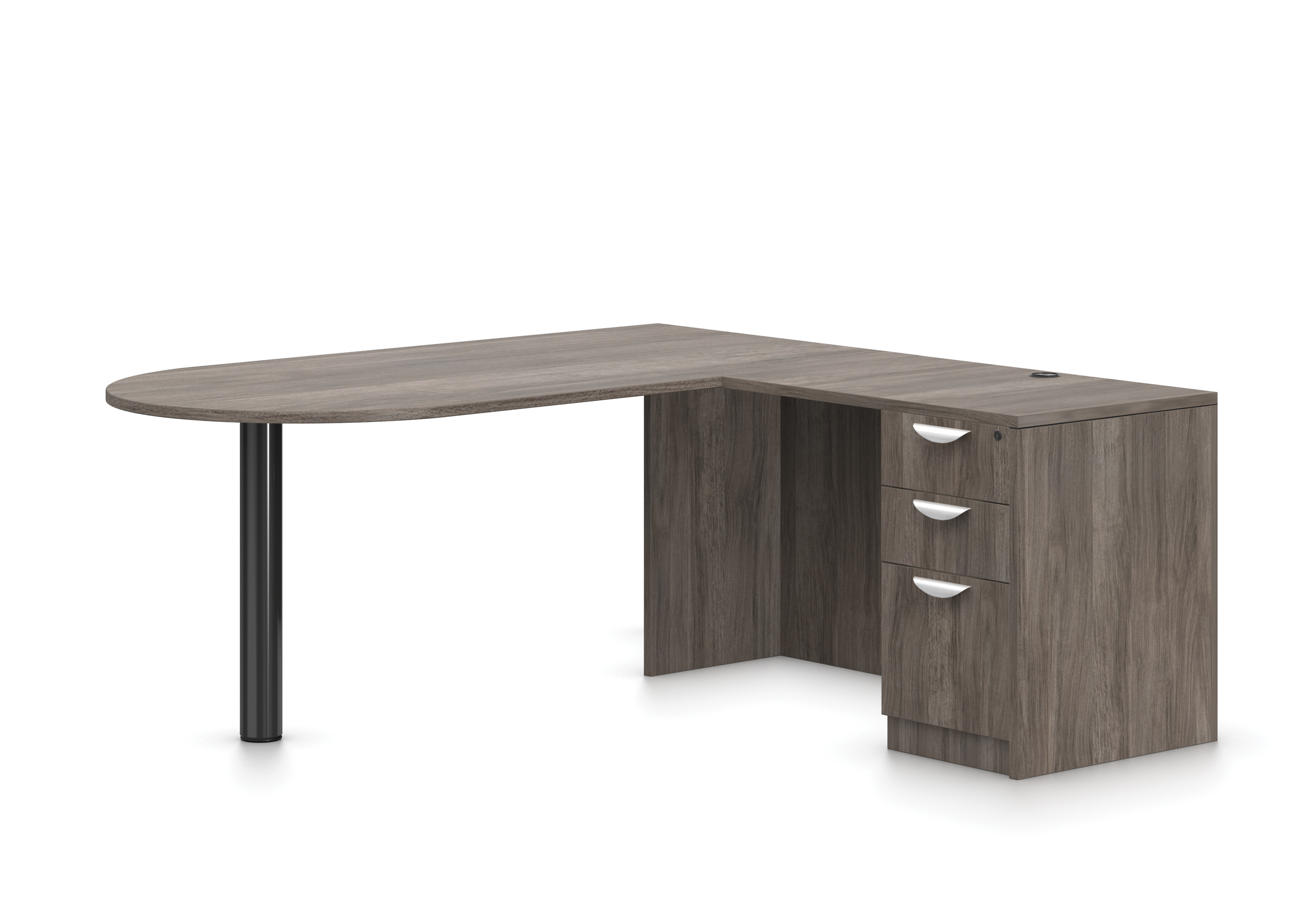 Offices To Go Superior Laminate D-Island Corner Desk with Pedestal (5 Finishes Available!)