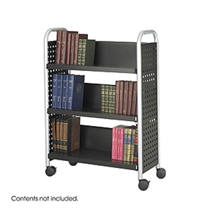 Safco Scoot Single Sided Book Cart 5336BL