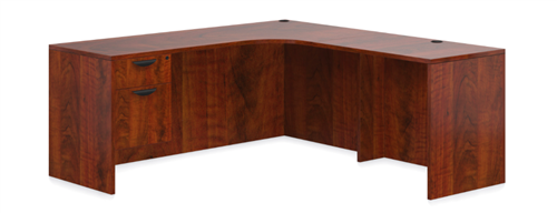 Offices To Go Superior Laminate L Shaped Desk In Dark Cherry