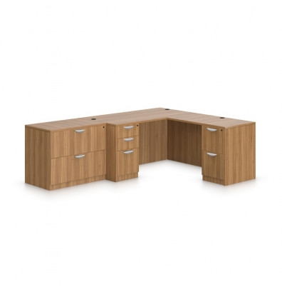 Offices To Go Superior Laminate L Shaped Desk with Freestanding File Cabinet SL-N (5 Finishes Available!)