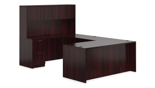 Offices To Go Superior Laminate Mahogany Desk with Hutch