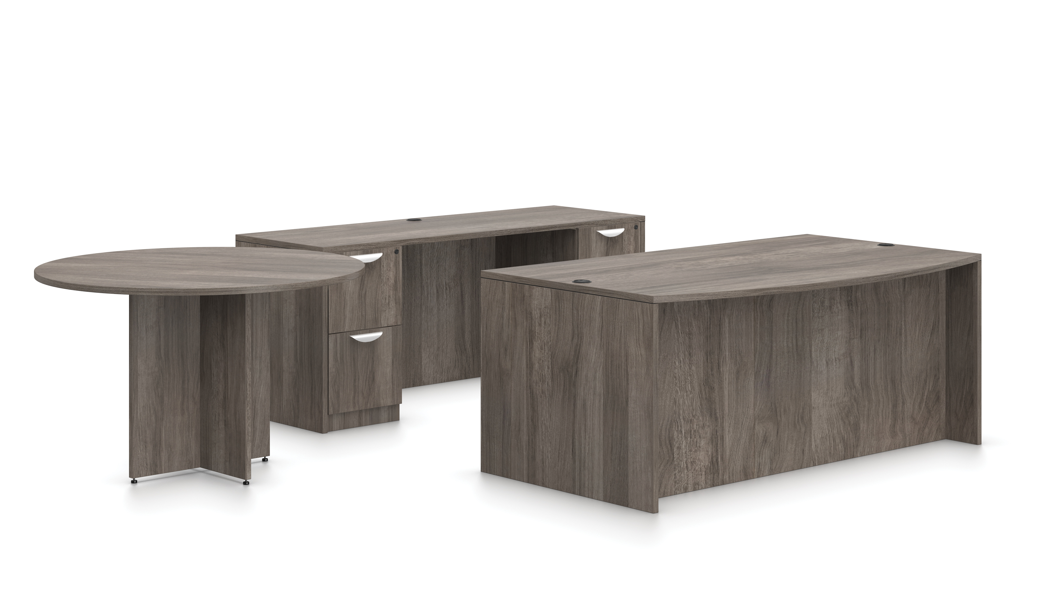 offices to go gray desk with credenza and side table