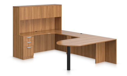 Offices To Go Superior Laminate Series Collaborative U Desk In Autumn Walnut