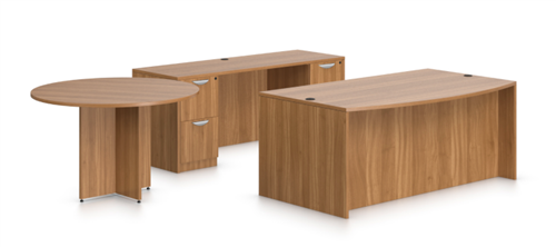 Offices To Go Superior Laminate Series Walnut Desk, Credenza, and Meeting Table Set SL-G