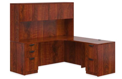 Offices To Go Superior Laminate SL-L Dark Cherry L-Desk with Hutch