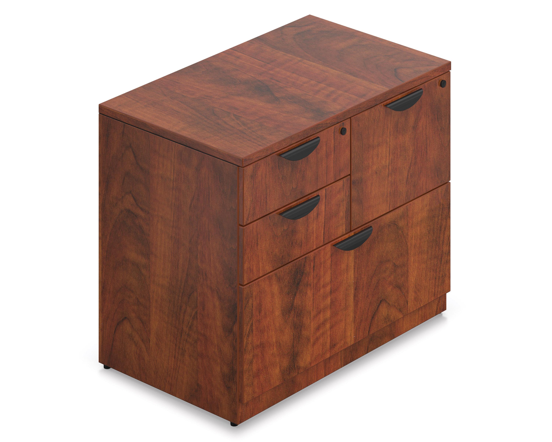 dark cherry mixed storage cabinet