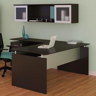 medina collection mocha l-desk with hutch