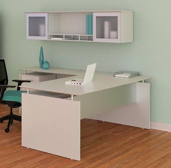 medina l desk with hutch in sea salt
