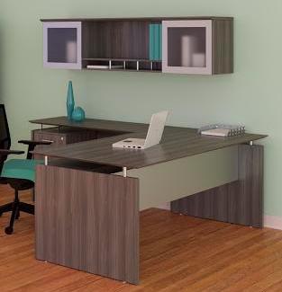medina l desk with hutch in gray steel