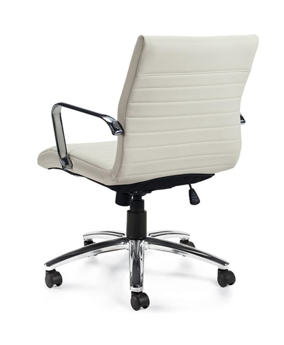 Offices To Go White Leather Ribbed Back Conference Chair
