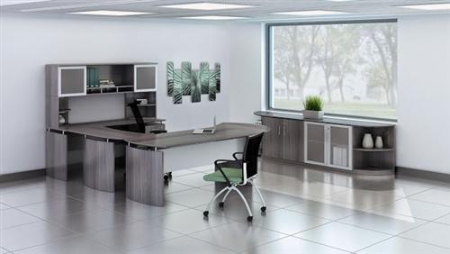 Mayline Medina Series Large Gray Steel Laminate Furniture Set for Executive Office