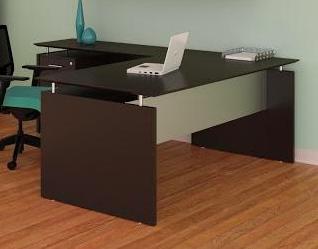 medina l-shaped desk in mocha