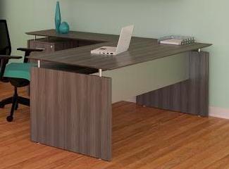 medina l-shaped desk in gray steel