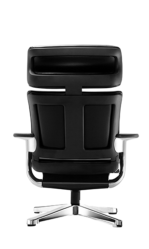 Eurotech Nuvem Black Leather Reclining Executive Chair with Tablet Arm and Ottoman - NUVEMBLK
