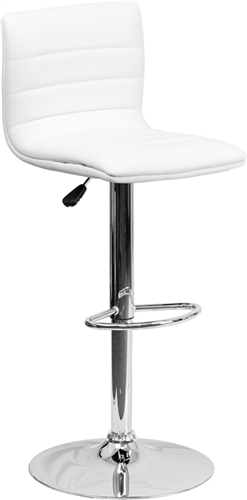 White Vinyl Armless Bar Stool with Retro Style by Flash Furniture