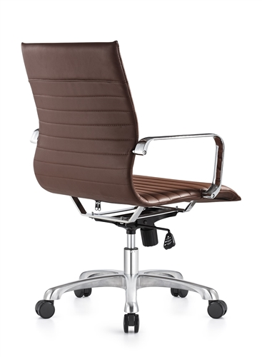 Woodstock Janis Euro Style Brown Leather Ribbed Back Office Chair