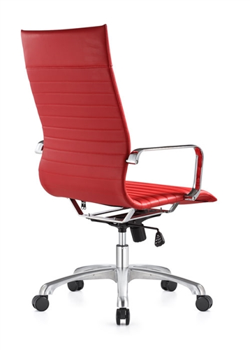 Woodstock Janis Euro Style Red Leather Ribbed Back Office Chair