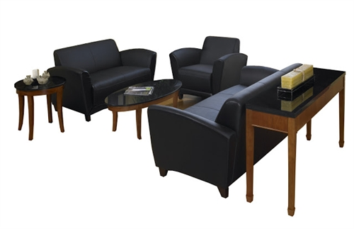 Mayline Santa Cruz 3 Piece Black Leather Lounge Furniture Set