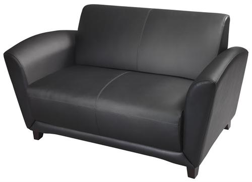 Mayline Santa Cruz Black Leather Reception Settee