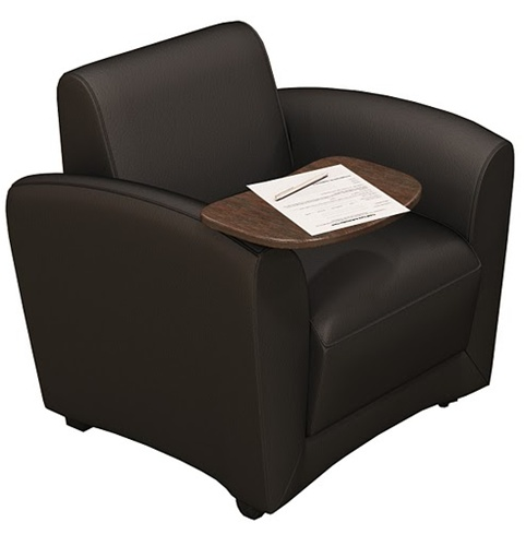 Mayline Santa Cruz Collection Mobile Lounge Chair VCCMT with Chestnut Tablet