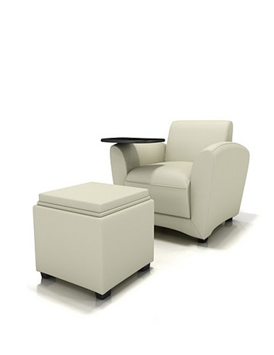 Mayline Santa Cruz Collection Mobile Lounge Chair VCCMT with Ottoman