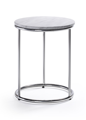 Woodstock Marketing Harden White Marble Top End Table
