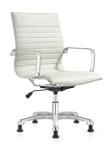 Woodstock Marketing Janis White Leather Side Chair