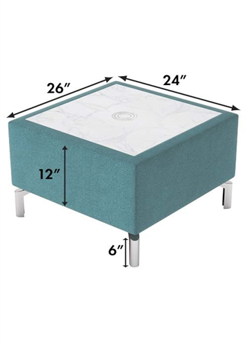 Woodstock Marketing Jefferson Powered Accent Table with Marble Top