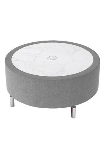 Woodstock Marketing Jefferson Round Marble Top Coffee Table with Pop Up Power