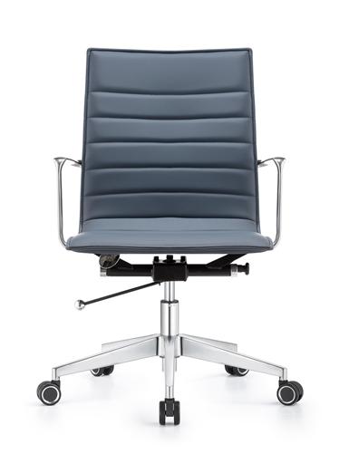 Woodstock Marketing Joe Charcoal Blue Leather Boardroom Chair