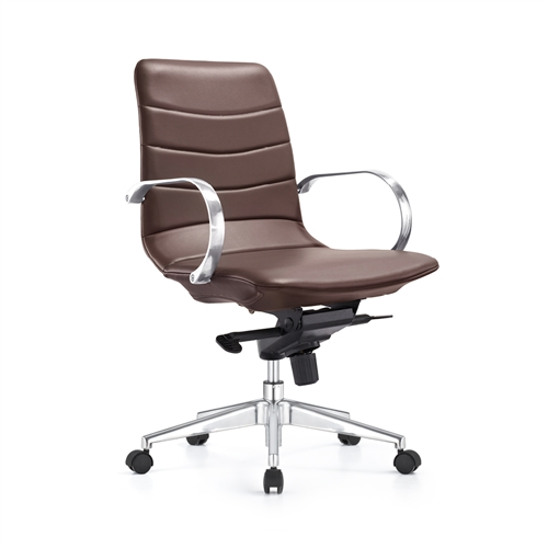 Woodstock Marketing Marie Chestnut Brown Mid Century Conference Chair