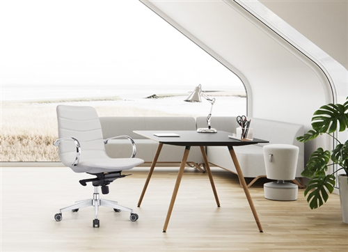 Woodstock Marketing Marie Cloud White Ribbed Conference Chair