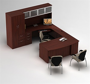 Zira Bow Front U Desk with Hutch and Storage Tower