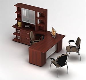 Zira Series Modern L-Shaped Desk with Hutch by Global