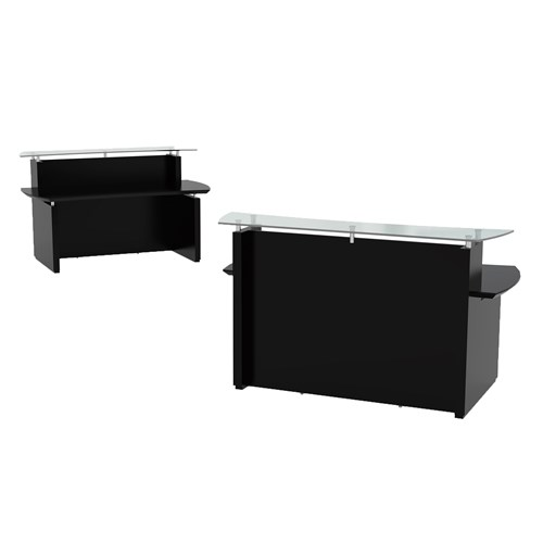 """Mayline Sterling Series 72"""" Modern Reception Desk with Glass Transaction Counter"""