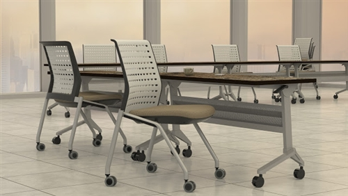 """Mayline Model LF2460 Flip-N-Go 60"""" x 24"""" Training Room Nesting Table with Silver Base (2 Finish Options Available!)"""