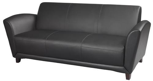 Mayline Santa Cruz Collection Black Leather Lounge and Reception Sofa