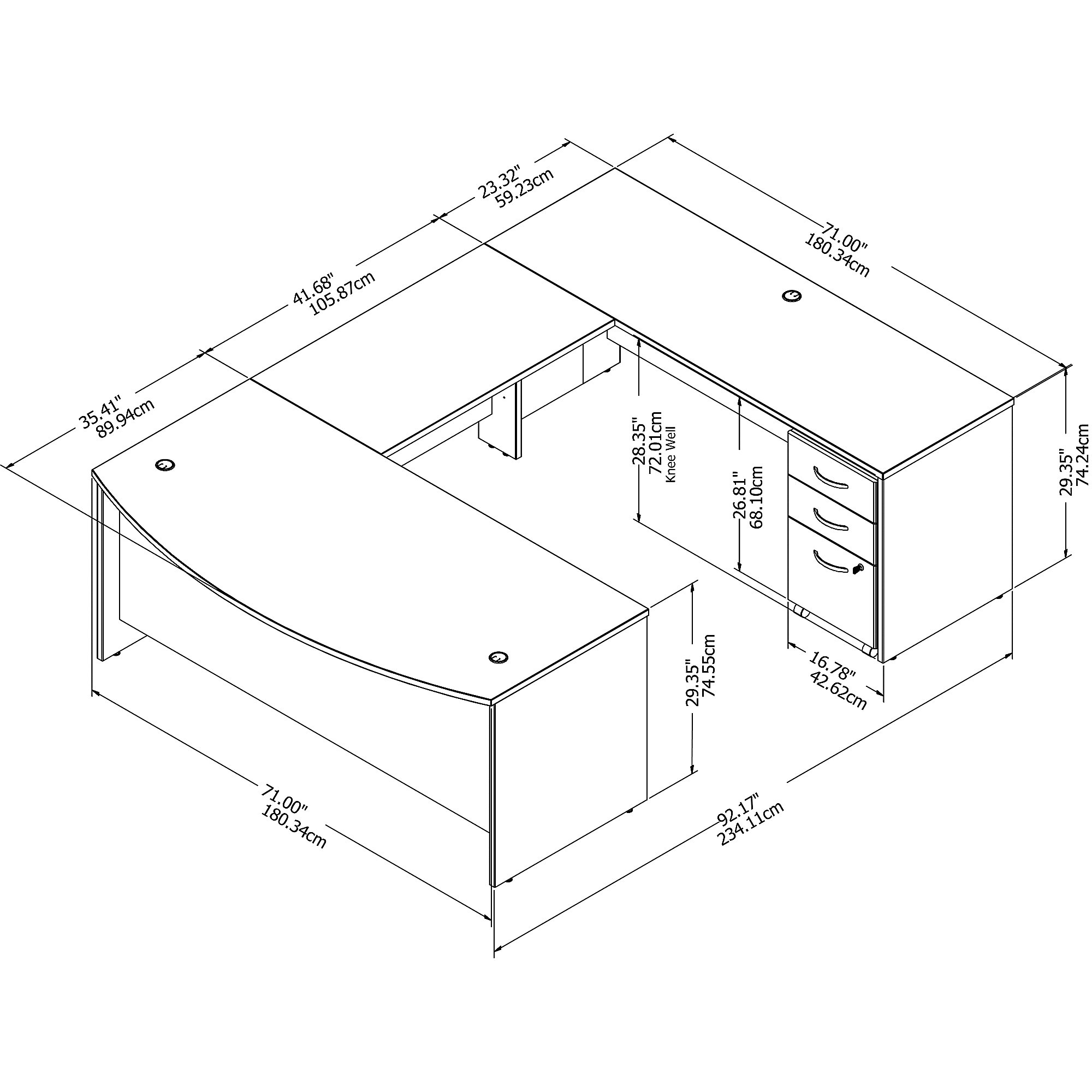 Bush Studio C STC004 U-Shaped Office Desk with Mobile File Cabinet
