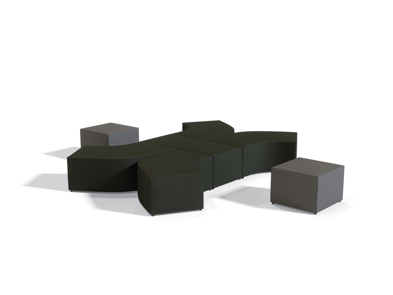 offices to go modular ottoman seating configuration with two tone upholstery