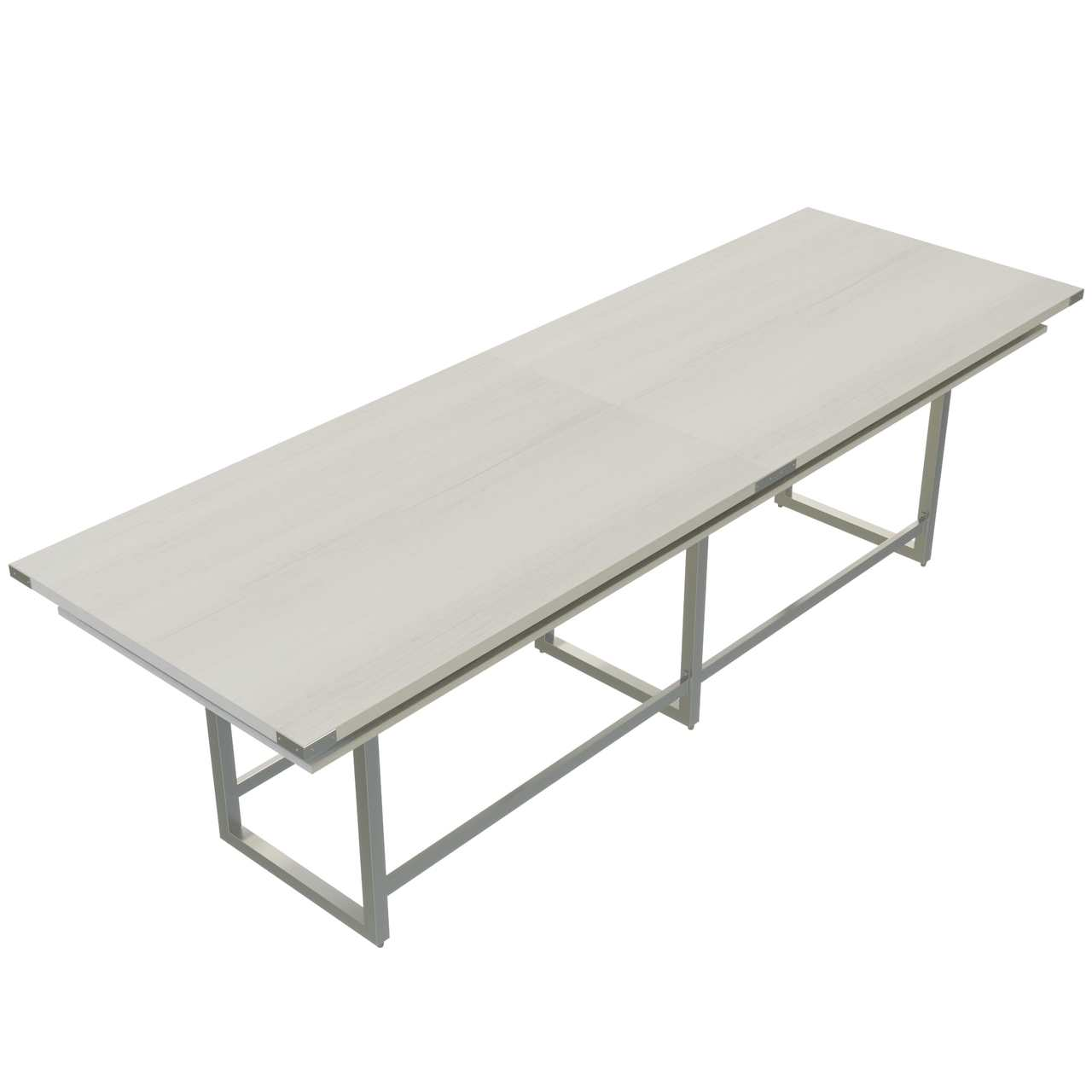 mirella standing height conference table with white ash laminate finish