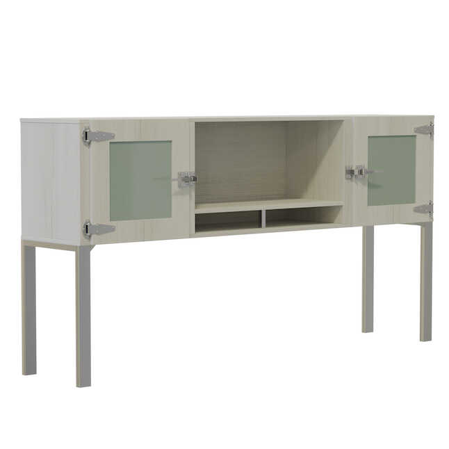 safco mirella white ash hutch with frosted glass doors