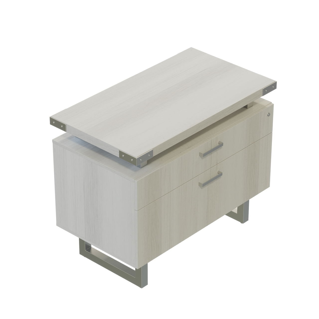 mirella white ash lateral file cabinet with brushed silver accent trim