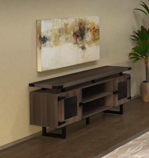mirella low wall cabinet with southern tobacco laminate finish and black accent trim